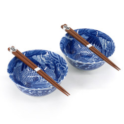 Set de 2 bols à riz japonais en céramique, MANEKINEKO BACHI