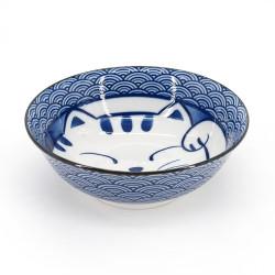 bol japonais à ramen en céramique - AO MANEKINEKO - motif chat