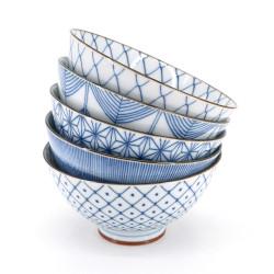 Set de 5 bols japonais à riz bleu et blanc - BORU SETTO