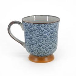 tasse mug traditionnelle japonaise avec motifs vagues couleur bleue en céramique SEIGAIHA KÔDAI