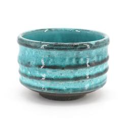 Cuenco de té japonés para ceremonia – chawan, MASHIKO, azul