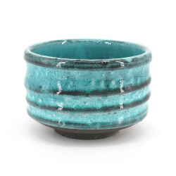 Japanese tea bowl for ceremony - chawan, MASHIKO, blue