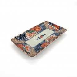 japanese rectangular sushi plate, KOIMARI, blue and red