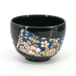 bol japonais à cérémonie du thé - chawan, HANA, fleurs bleues