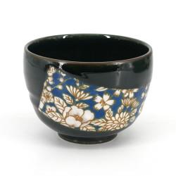 Japanische Teeschale für Zeremonie - chawan, HANA, blaue Blumen