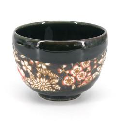 Japanische Teeschale für Zeremonie - chawan, SAKURA, Blumen