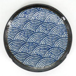Japanese blue ceramic plate Ø22,6cm, SEIGAIHA, wave