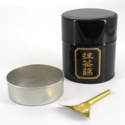 Japanese metal tea box, MATCHA BURUI, black