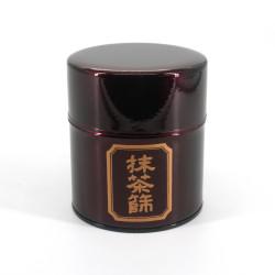 Japanese red metal tea caddy, MATCHA BURUI, 150 g