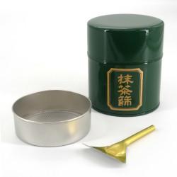 Japanese green metal tea tin, MATCHA BURUI, 150 g