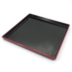 Square tray with adherent coating, DAIZU MOKUME BON, black