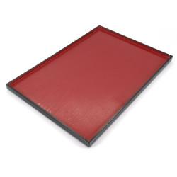 rectangular tray with adherent coating, DAIZU MOKUME BON, red