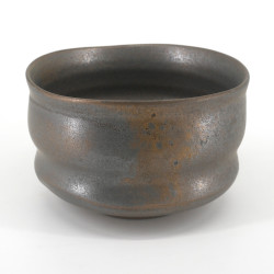 Japanese tea bowl for ceremony - chawan, BURONZU, grey and gold