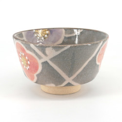 Japanese tea bowl for ceremony - chawan, SAKURA, grey and pink