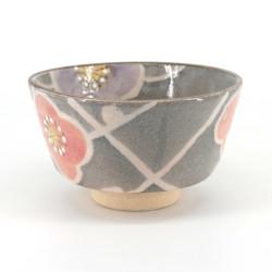Japanische Teezeremonie Schüssel - Chawan, SAKURA, grau und rosa