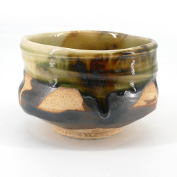 Japanese tea ceremony bowl - chawan, KASSHOKU, green and brown