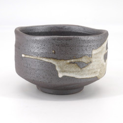 Japanese tea ceremony bowl - chawan, KASSHOKU, brown and white