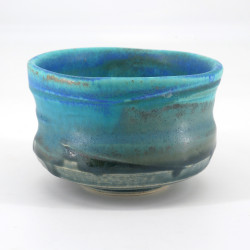 Japanese tea ceremony bowl - chawan, TAKOIZU, blue and turquoise