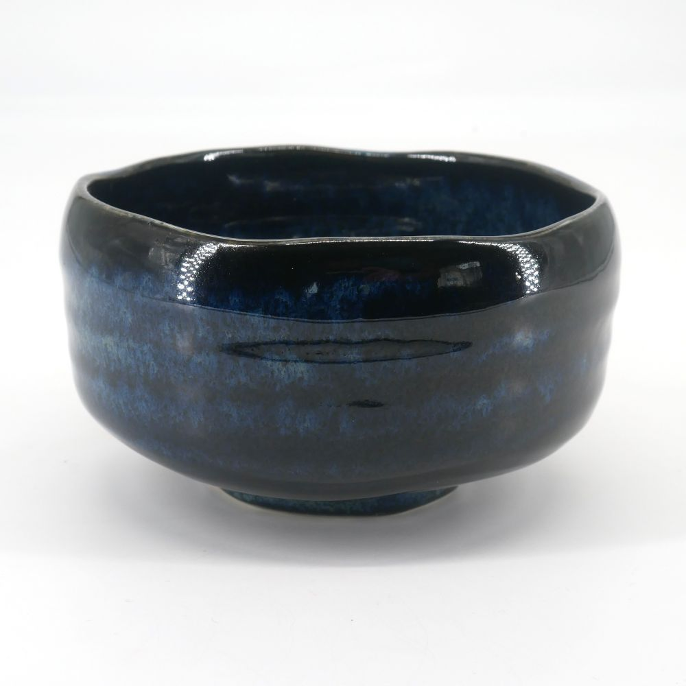 Japanese tea ceremony bowl - chawan, AOI, blue