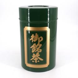 Large Japanese green metal tea caddy, OMEICHA KURO, 1 Kg