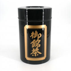 Large Japanese black metal tea caddy, OMEICHA KURO, 1 Kg