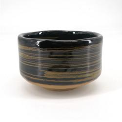 Bol japonais à cérémonie du thé - chawan, KURO, noir et spirale
