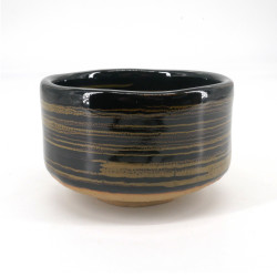 Japanese tea ceremony bowl - chawan, KURO, black and spiral