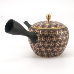 SAKURA tokoname-kutani teapot, pink, yellow and red flowers