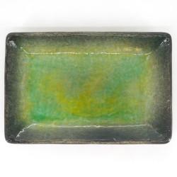 Japanese green plate rectangular ceramic MIDORI