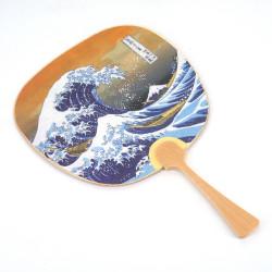 Small non-folding Japanese fan uchiwa, NAMIFUJI, wave