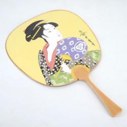 Small non-folding Japanese fan uchiwa, UCHIWA BIJIN, beauty with a fan