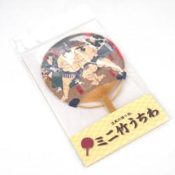 Small Japanese non-folding fan uchiwa, SUMOTORI, sumo