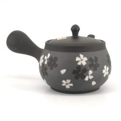 Japanese tokoname teapot, SAKURA, gray, gray and white flowers