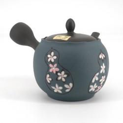 Japanese tokoname teapot, SAKURA, gray and blue, white flowers