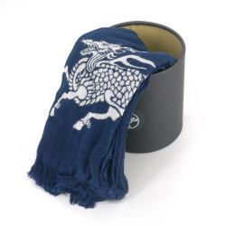 Cotton scarf, COTTON SCARF QILIN, Kirin blue