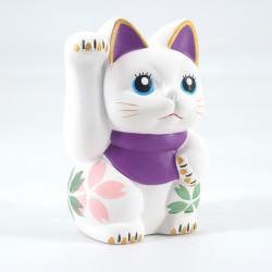 Japanese manekineko lucky cat, SHIRO, white and purple