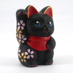 Japanese lucky cat manekineko, KURO, black and red