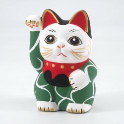 Japanese manekineko lucky cat, MIDORI KARAKUSA, green and arabesques