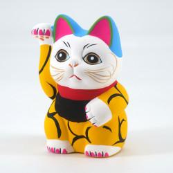 Japanese manekineko lucky cat, KI KARAKUSA, yellow and arabesques