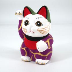 Japanese manekineko lucky cat, MURASAKINO KARAKUSA, purple and arabesques