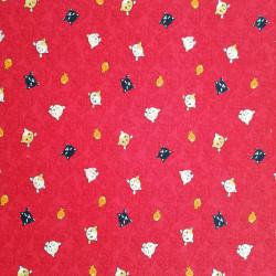 tissu rouge japonais en coton, motifs NEKO Doku chat et poisson