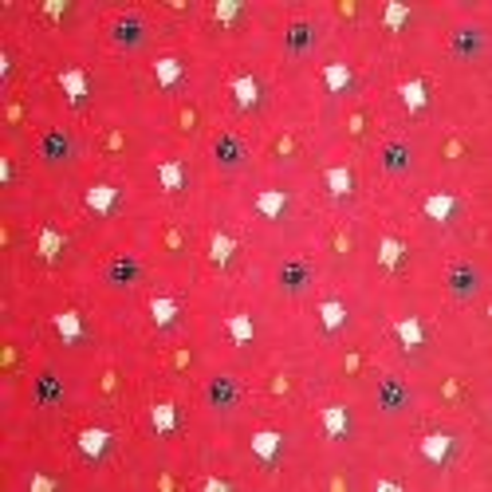 Japanese red cotton fabric, NEKO Doku cat and fish patterns