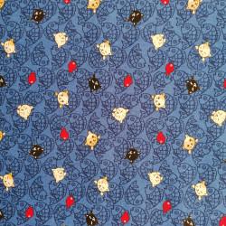 tissu bleu japonais en coton, motifs NEKO Doku chat et poisson