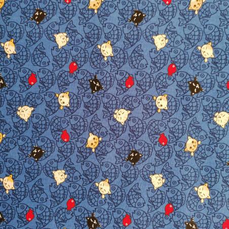 Japanese blue cotton fabric, NEKO Doku cat and fish patterns