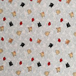 tissu blanc japonais en coton, motifs NEKO Doku chat et poisson