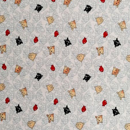 Japanese white cotton fabric, NEKO Doku cat and fish patterns