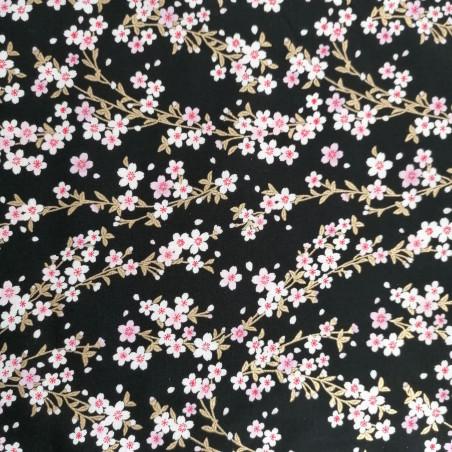 Japanese black cotton fabric, sakura patterns, cherry blossoms