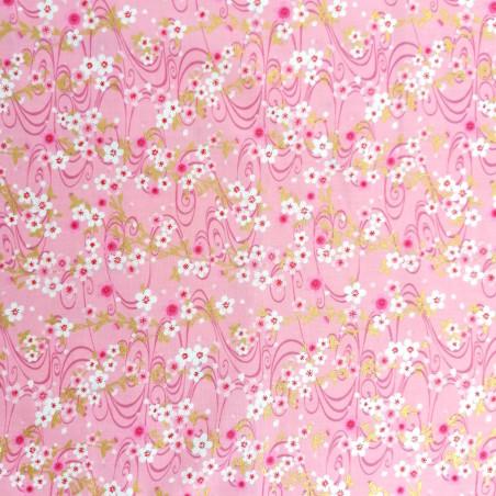 Japanese pink cotton fabric, sakura patterns, cherry blossoms