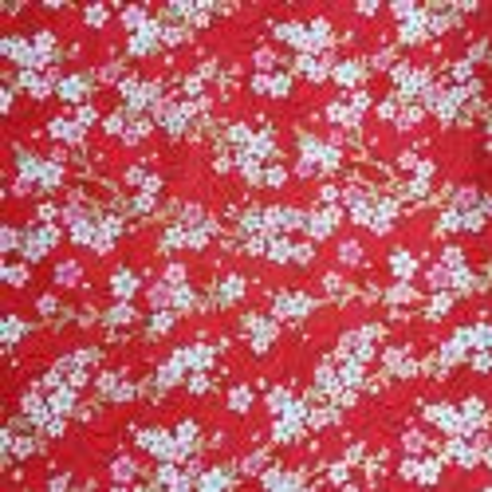 Japanese red cotton fabric, sakura patterns, cherry blossoms