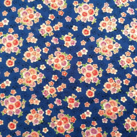 Japanese blue cotton fabric, sakura patterns, cherry blossoms